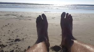 Enjoying the sea on my feet - first time in ages!
